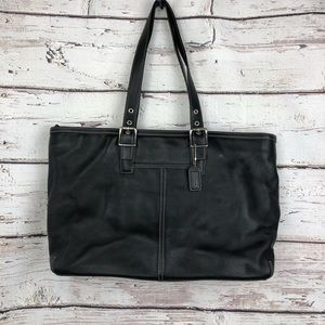 Large Coach Hampton Leather Tote Bag in Black